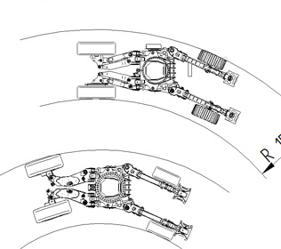 R105L - Bending radius with and without steering wheels