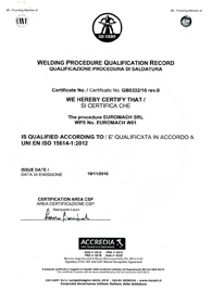 Certification ISO 156414-1:2012